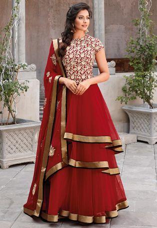 Червената нетна двуслойна стил Abaya Churidar Kameez
