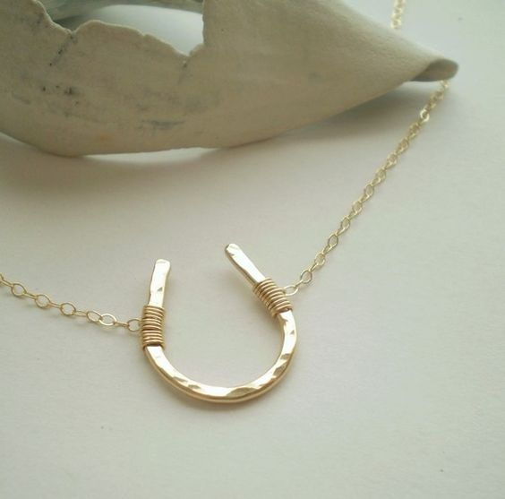 Luck Necklace - Simple Hammered Gold Filled Horseshoe on Delicate Gold Filled Chain. $38.00, via Etsy.