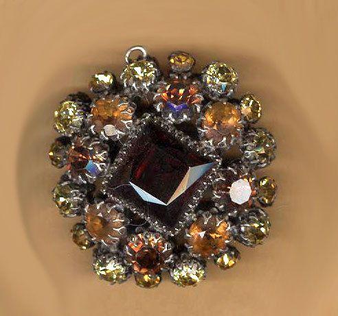 "vintage jeweled rhinestone pendant drop HUGE jewel tone ambers and yellow MOVIE STAR pendant same on both sides 2"" puffy shape by beadtopiavintage on Etsy"