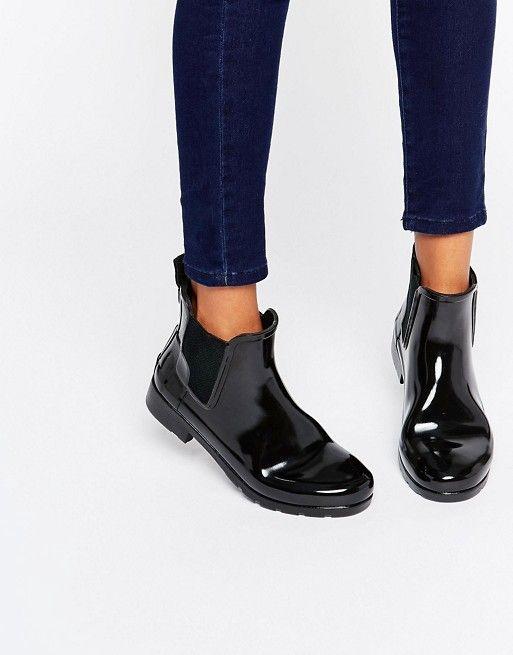 Hunter   Botas de agua clásicas estilo Chelsea en color negro brillante Refined de Hunter Original