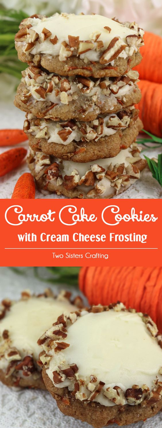 Carrot Cake Cookies with Cream Cheese Frosting are the perfect Spring Cookies and a wonderful choice for Easter, Mother's Day or a Spring Brunch. This cookie tastes just like Carrot Cake which makes it a great Easter Dessert idea. And with the delicious cream cheese frosting and chopped pecans this is a Easter treat that is sure to please. Pin this delicious cookie recipe for later and follow us for more great Easter Food ideas.: