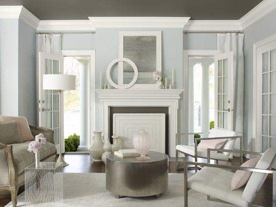 Walls: 'Smoke' by Benjamin Moore Ceiling: Kendall Charcoal- Living Room Inspiration