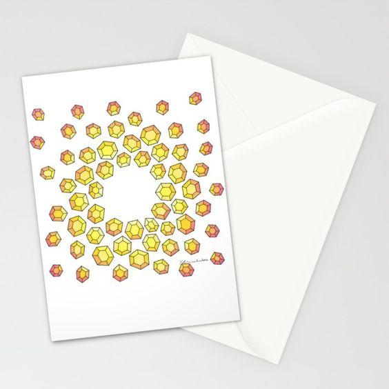 Yellow Diamonds Stationary. Printed on Card Stock.  Blank Inside. $12.00
