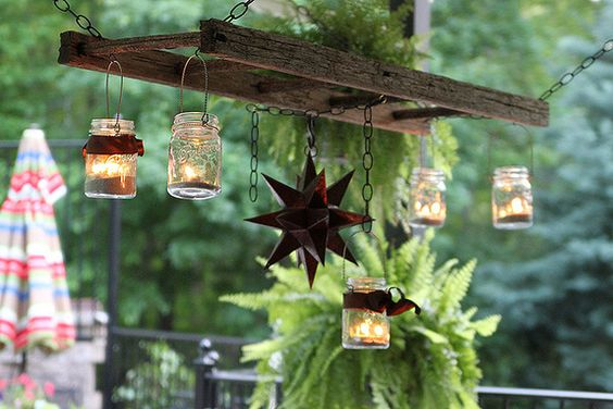 Rustic Ladder Chandelier with Rusty Star and Mason Jars..luv this!