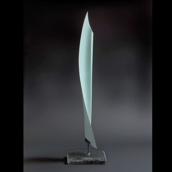 Sueharu Fukami - Kitsu, 2012 - Pale-blue glazed porcelain; granite base - H. 77 3/4 x W. 11 1/4 in x D. 8 in.