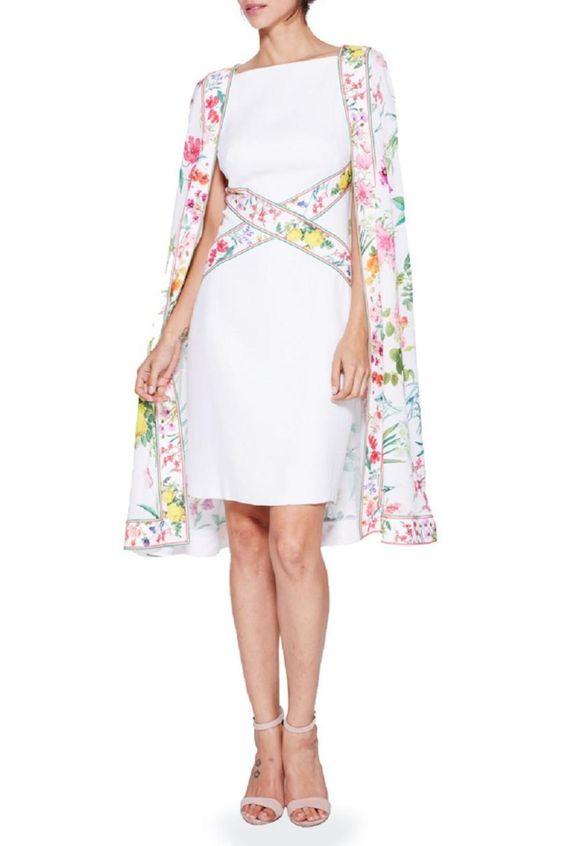 Tadashi Shoji Floral Cape Dress - Main Image