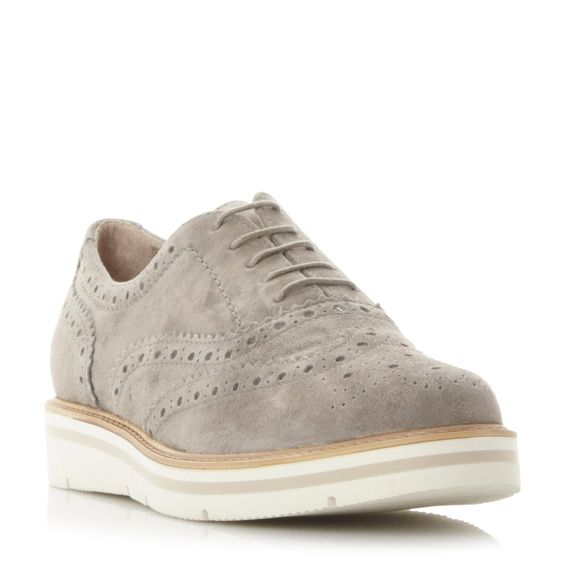 DUNE LADIES FEATHERS - Suede Flatform Brogue Shoe - grey | Dune Shoes Online