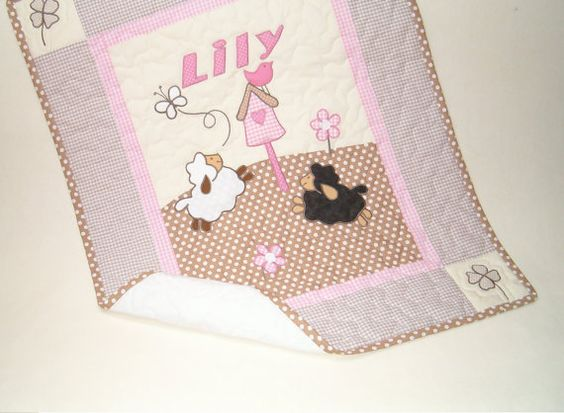 Sheep Crib Quilt Sweet Lambie Nursery Bedding by Customquiltsbyeva, $80.00