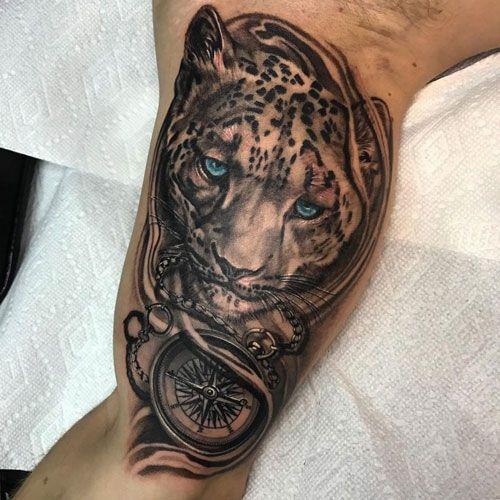125 Best Inner Bicep Tattoos For Men Leopard Tattoos Snow Leopard Tattoo Animal Tattoos For Men