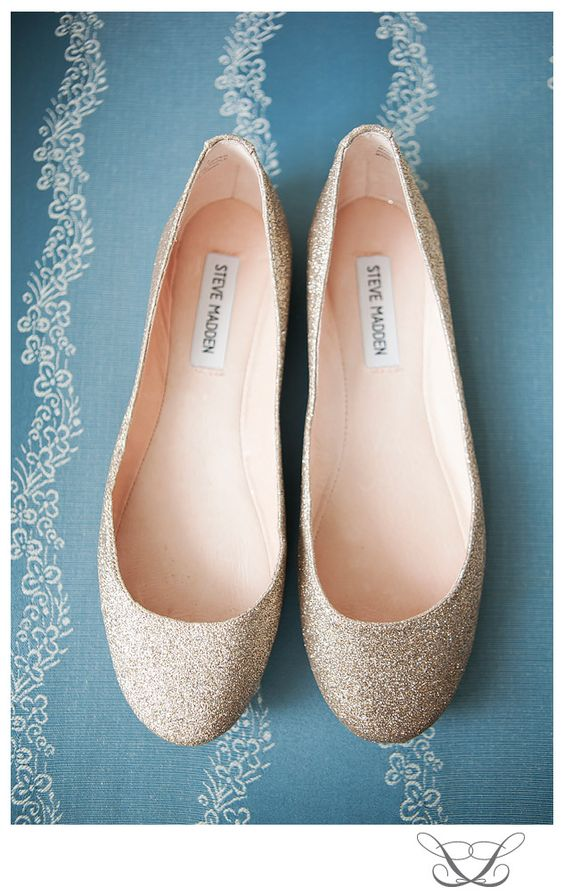 Steve Madden, Sequined Wedding Flats I've decided heels aren't worth it for all the standing ill be doing!!