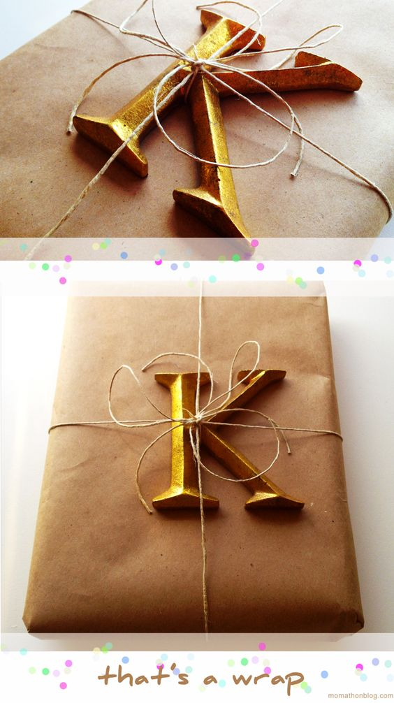 add a letter and simple jute twine to a kraft paper wrapped gift: