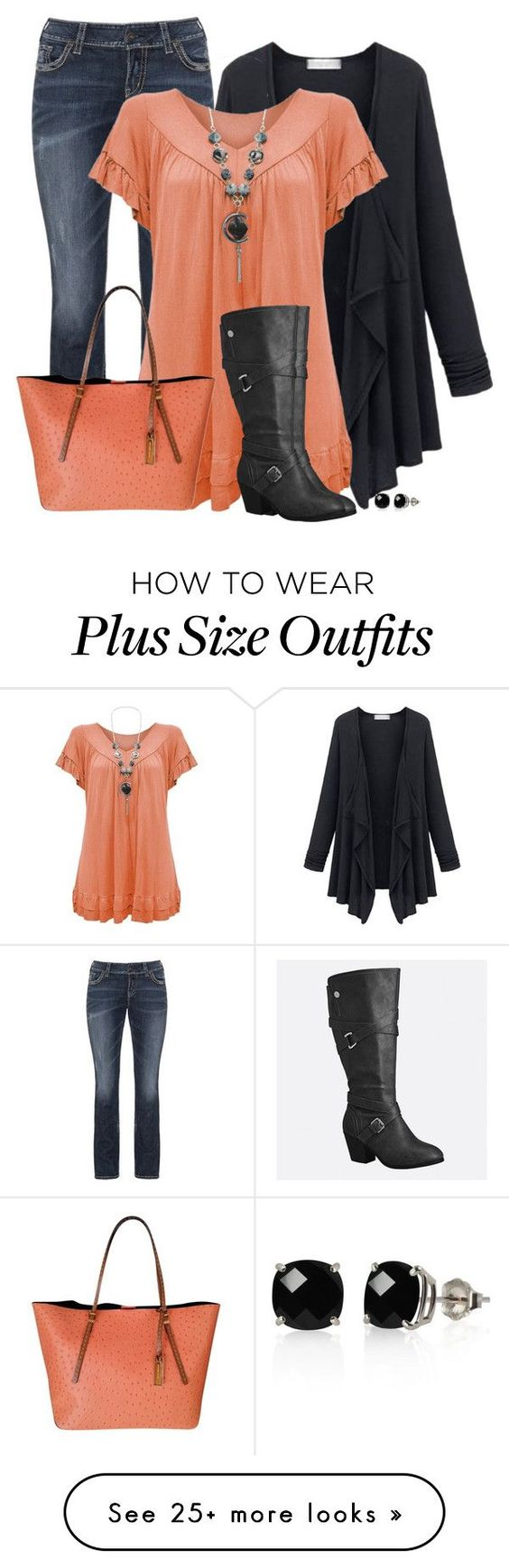 """""""Plus Size"""" by sherbear1974 on Polyvore featuring Silver Jeans Co., Avenue, Michael Kors and Belk & Co. More"""