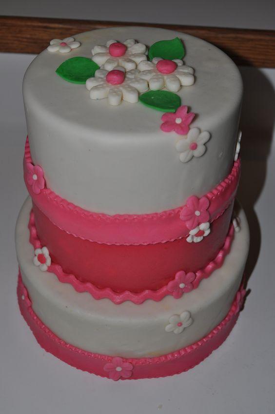 Pink & White bday cake