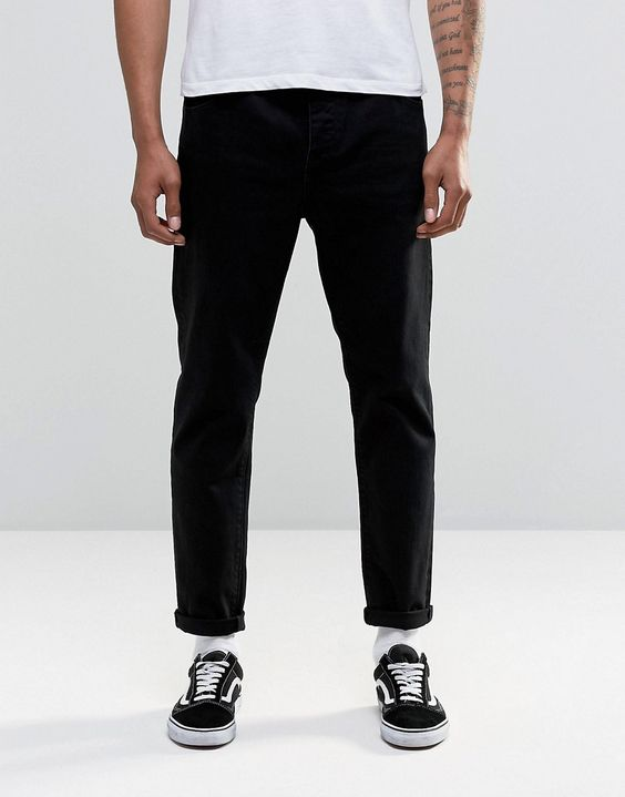 Image 1 ofASOS Relaxed Tapered Jeans In Black
