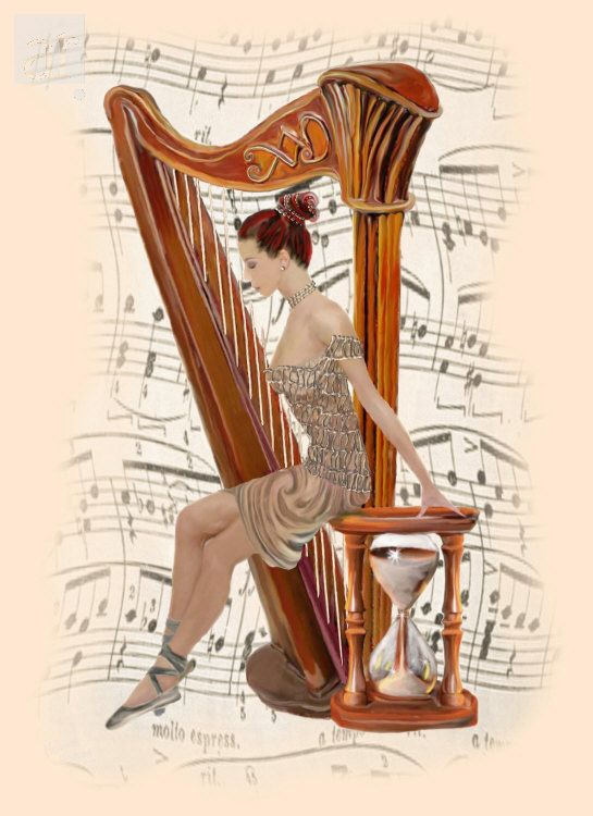 "Ballet Dancer and Harp. Melanie Logan. Mixed media. For me there is no wrong in ""art."" It comes from the person's inner being, a need to express what is felt in the media form. My love for music enabled the energies to compose the piece! -- Melanie Logan"