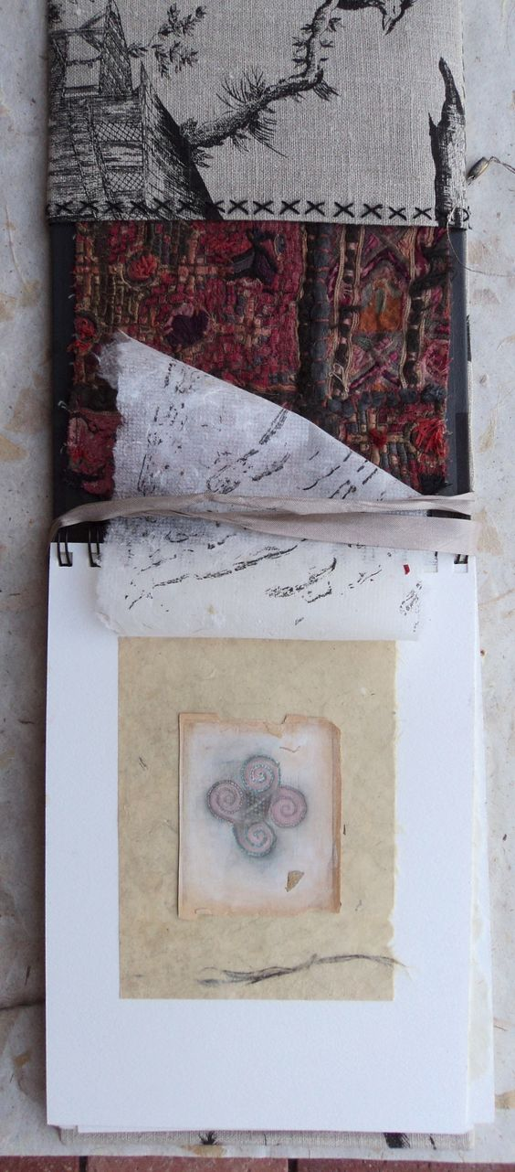 A textile and jewelry journal with collected bits and pieces of fabrics. Original drawings on antique papers, with the essence of everything hand made.