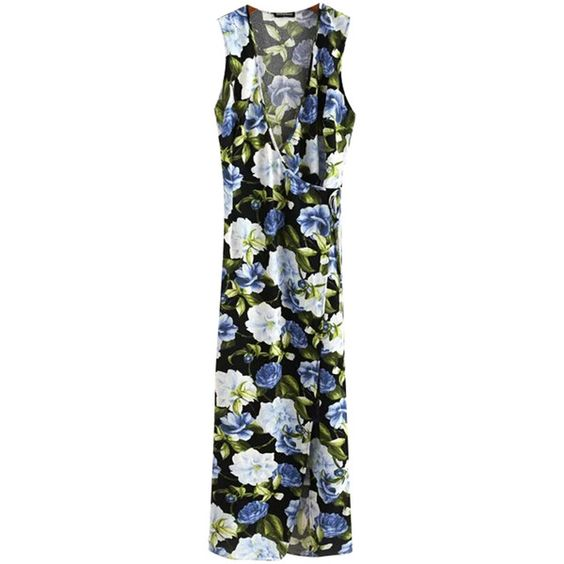 Chicnova Fashion Sleeveless Floral Maxi Dress ($27) ❤ liked on Polyvore featuring dresses, floral day dress, floral-print dresses, sleeveless maxi dress, flower print dress and maxi dresses