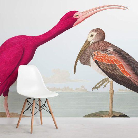 Bright Bird Wallpaper Modern Pink Illustration Muralswallpaper In 2020 Bird Wallpaper Animal Wallpaper Wall Murals
