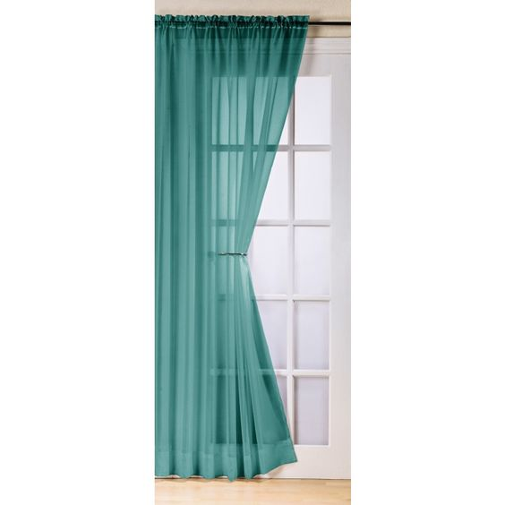 """Trent Slot Top Voile Curtain Panel Teal 59"""" x 54"""""""