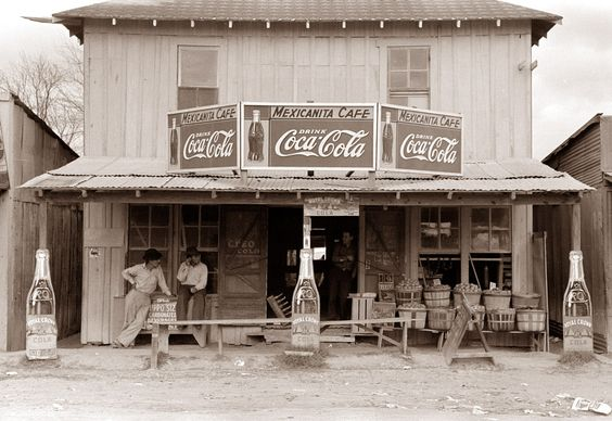 Old cafe in 1939 in Robstown, Texas