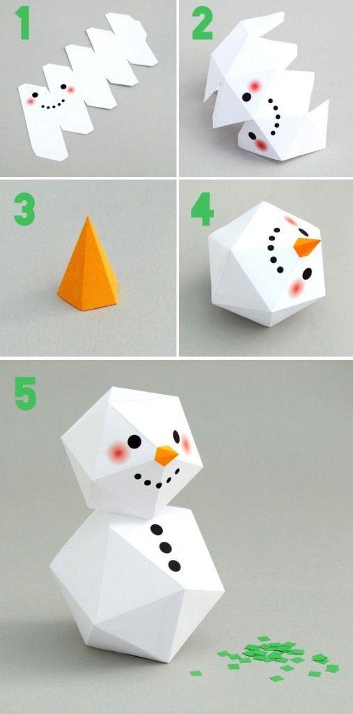 Diy printable bonhomme neige geometrique bricolage - Bricolage marque place noel ...