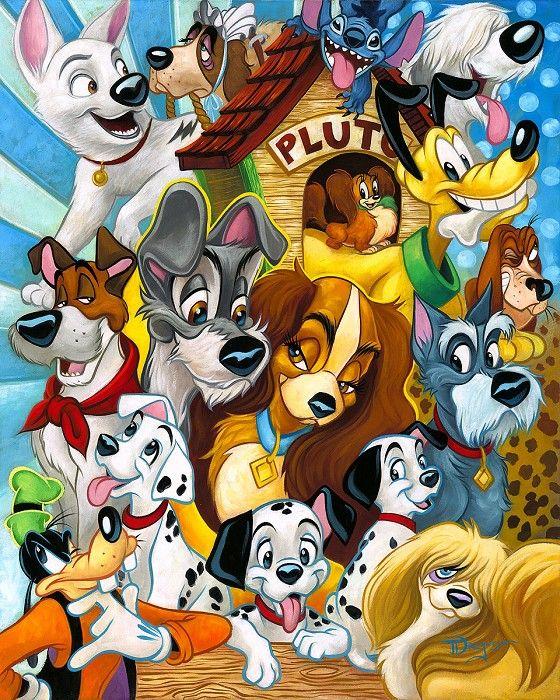 Tim Rogerson Disney Dogs Hand Embellished Giclee On Canvas Disney Drawings Disney Dogs Disney Art