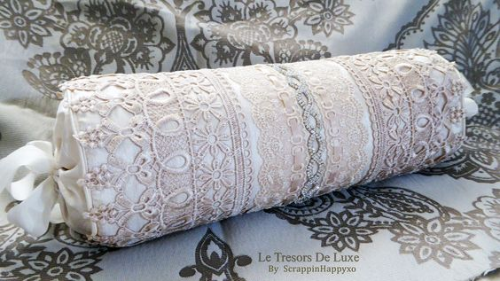Lace Bolster Cusion with Tresors de Luxe laces and trims - https://www.youtube.com/watch?v=okV39c08X2s