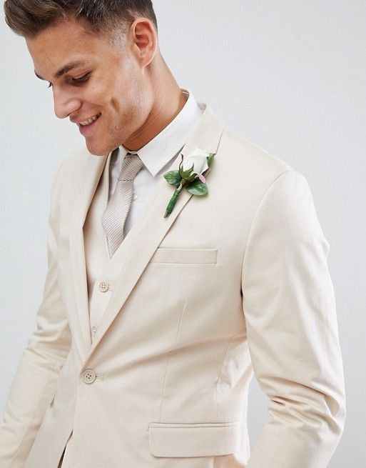 ASOS DESIGN wedding skinny suit jacket in stretch cotton in stone | ASOS