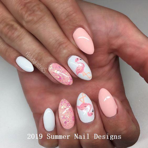 33 Cute Summer Nail Design Ideas 2019 Naildesigns Flamingo Nails Summer Nails Nail Designs