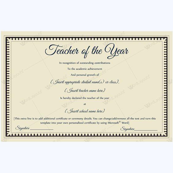 13 best Teacher of the Year Award Certificate Templates images on - award certificate template microsoft word