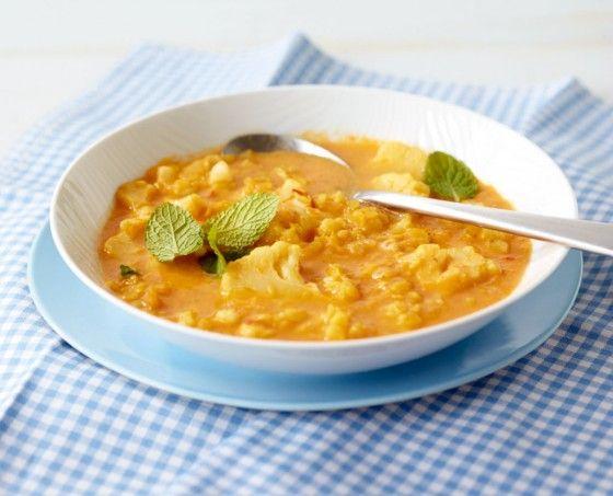 Linsen-Blumenkohl-Suppe: Leicht indisch, herrlich würzig! Mit viel Curry, Orange und Ingwer