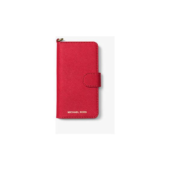 MICHAEL Michael Kors Saffiano Leather Folio Phone Case For Iphone 7 ($70) ❤ liked on Polyvore featuring accessories, tech accessories, red and michael michael kors