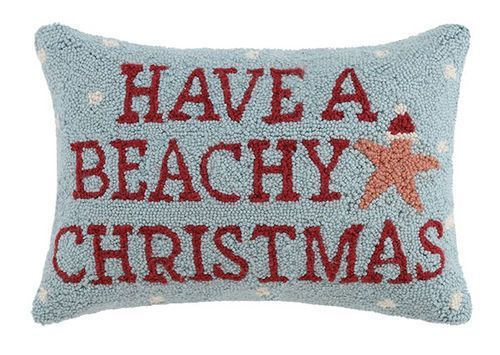 """An adorable wool-hooked aqua blue holiday pillow,  this 12"""" x 18"""" wool-hooked pillow with an coral-orange starfish and the quote """"Have a Beachy Christmas"""", will be a welcome addition to any room at your beach home!"""