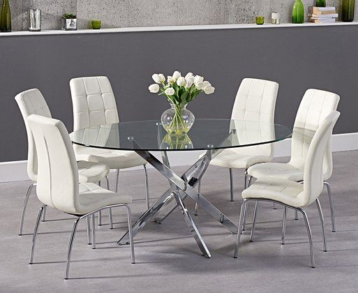 Denver 165cm Oval Glass Dining Table With Calgary Chairs Oval Glass Dining Table Glass Dining Table Glass Round Dining Table