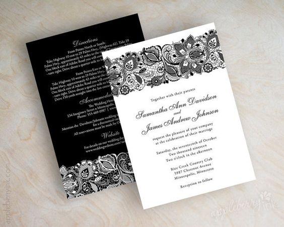 Black lace wedding invitation victorian wedding invitation lace – Black and White Vintage Wedding Invitations