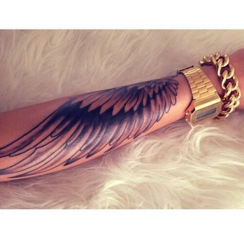 Wings arm sleeve angel gold watch rozaap tattoo for Wing tattoo arm