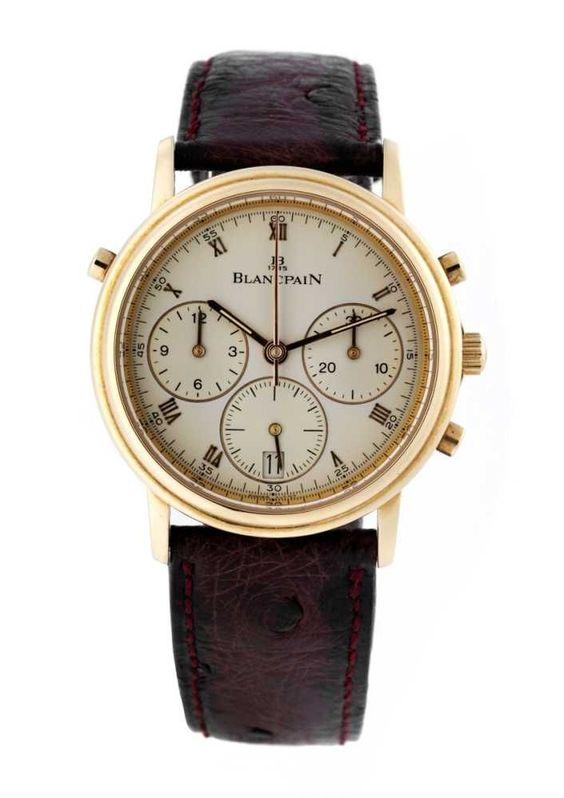 BLANCPAIN Chronograph Expertise vorhanden. In 18 kt Rotgold, Durchmesser: 34 mm, mit runden Drücker — Armbanduhren | juwelier-haeger.de