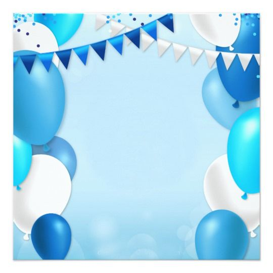 Blue Balloons And Party Flags Invitation Zazzle Com