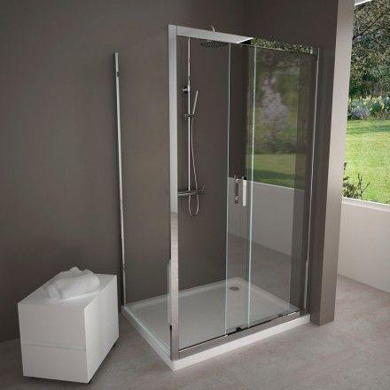 Cabine de douche coulissante Water, 100 à 160 cm Angles, D and Water - roulement de porte coulissante