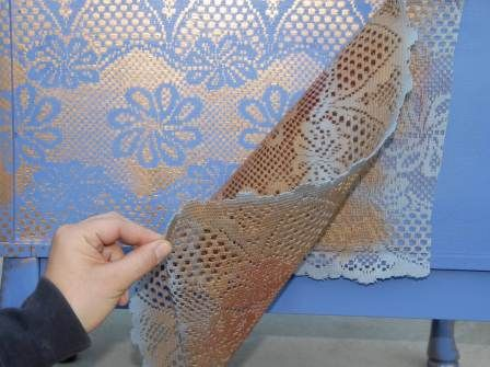 DIY How To Spray Paint Lace Pattern on Furniture! In the example a India Inspired Bedside Dresser ~ Provided by Mark Montano at FaveCrafts.com: