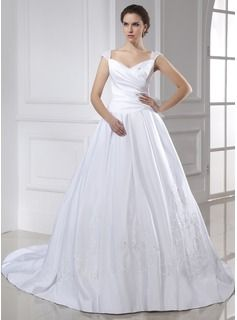 Ball-Gown V-neck Chapel Train Satin Wedding Dress With Embroidery Ruffle (002015466) - JJsHouse