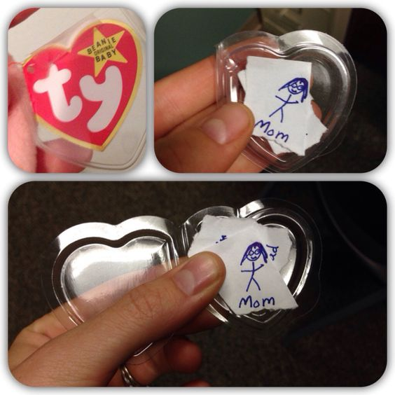 Carry Me With You in Your Heart:  Creative way to help little ones with separation anxiety or grief feelings: Use plastic TY Beanie Baby heart tags (EBay?) to hold loved one's name...Fits right inside a pocket!