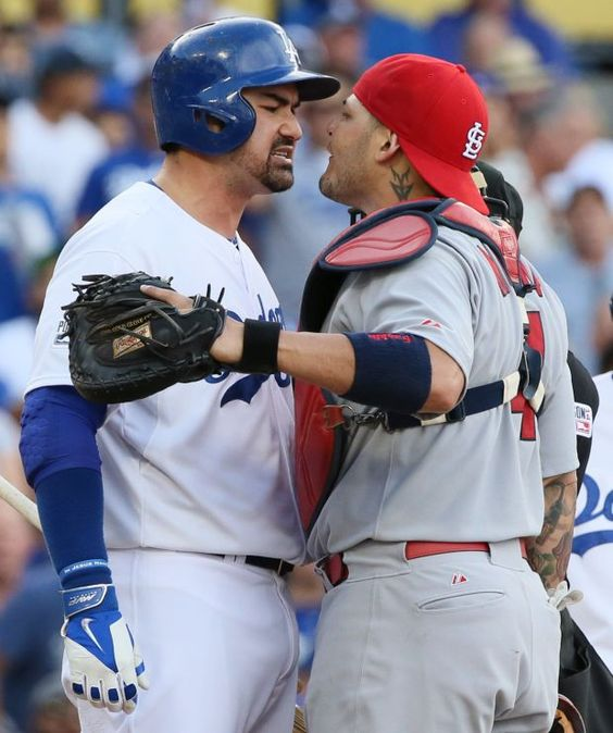 """Cardinals v Dodgers NLDS Game 1 Love it when the Cards get fired up. Gonzalez claimed he had """"friendly words"""" with Yadi. Yeah right."""