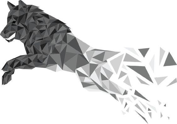 モノクロのポリゴンで描かれたおしゃれでかっこいい犬の壁紙