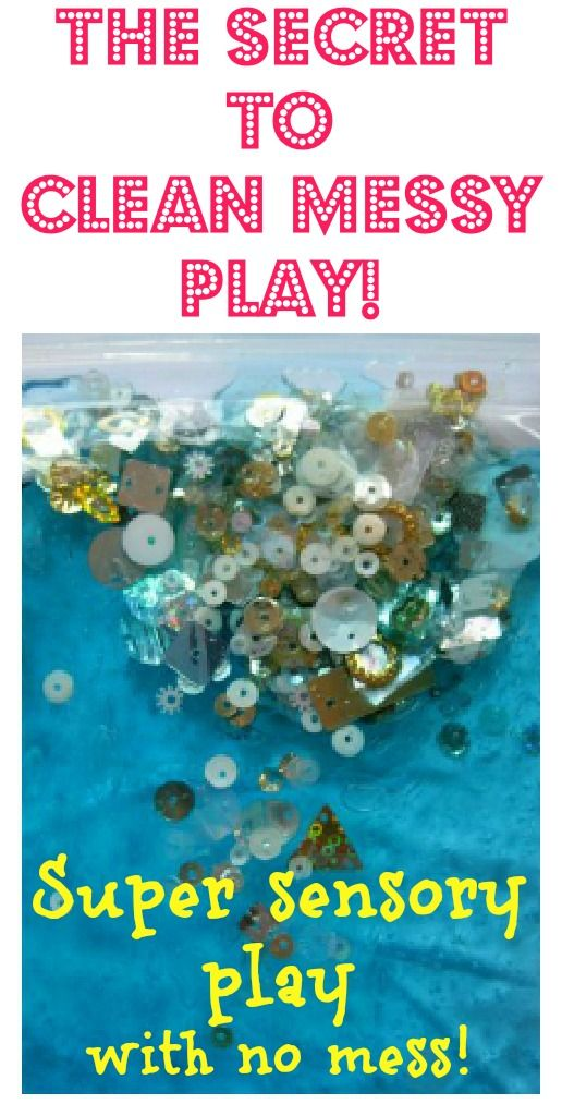 So clever - love this secret to *clean* messy play. Great for kids who don't like getting their hands dirty - and parents who don't like mess!