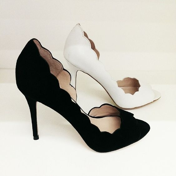 It's #shoe time! Loving the scalloped edges on these suede peep toes. White or black? @French Connection #SS14
