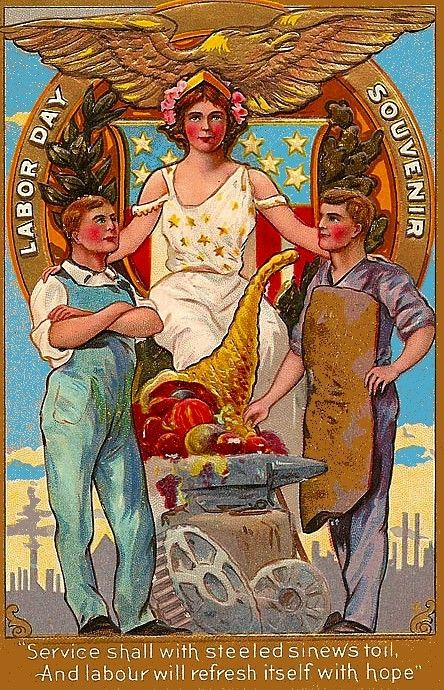 Labor Day Postcard--Two men with Lady Liberty: