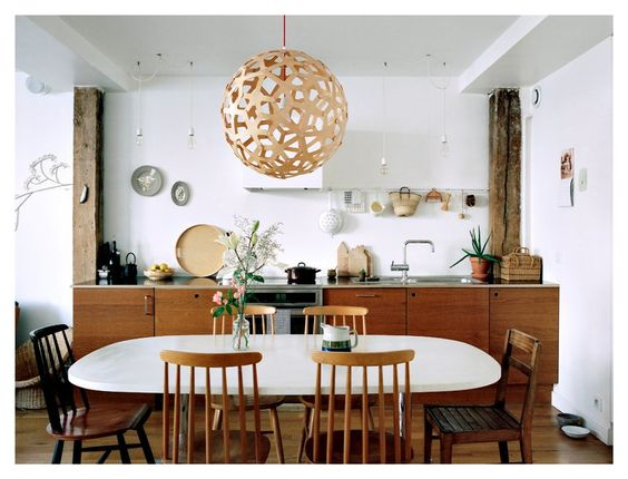 Mismatched wood dining room