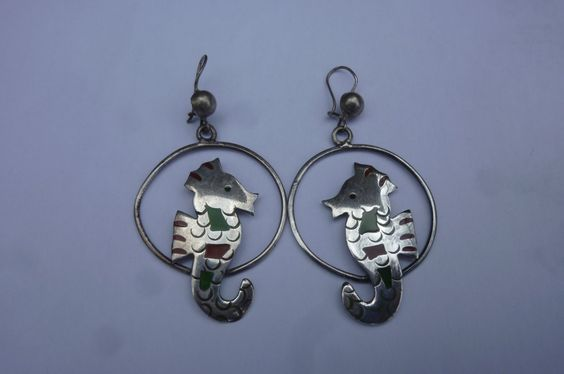 Vintage Taxco Silver Earrings Sterling Dangle Hoops With Enamel Seahorses for Pierced Ears Artisan Made in Mexico 1970's by ZoomVintage on Etsy