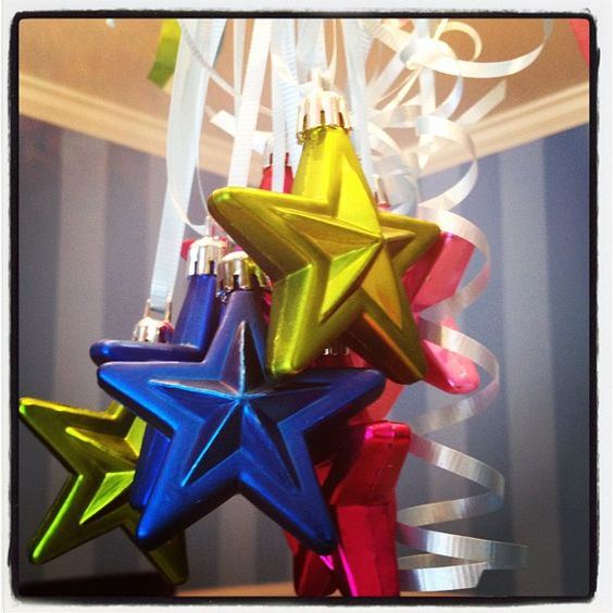 Christmas ornaments as birthday decoration